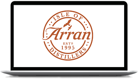 Isle of Arran Distillers logo on a laptop screen