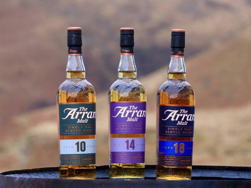 Arran malt whisky bottles